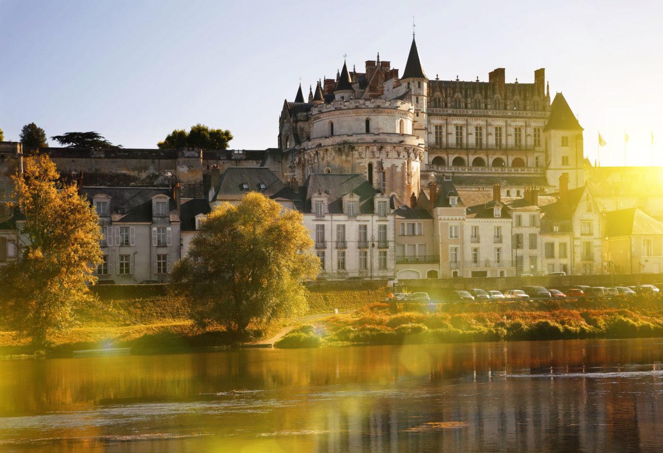 View of Royal castle Chateau de Amboise on river Loire, France
