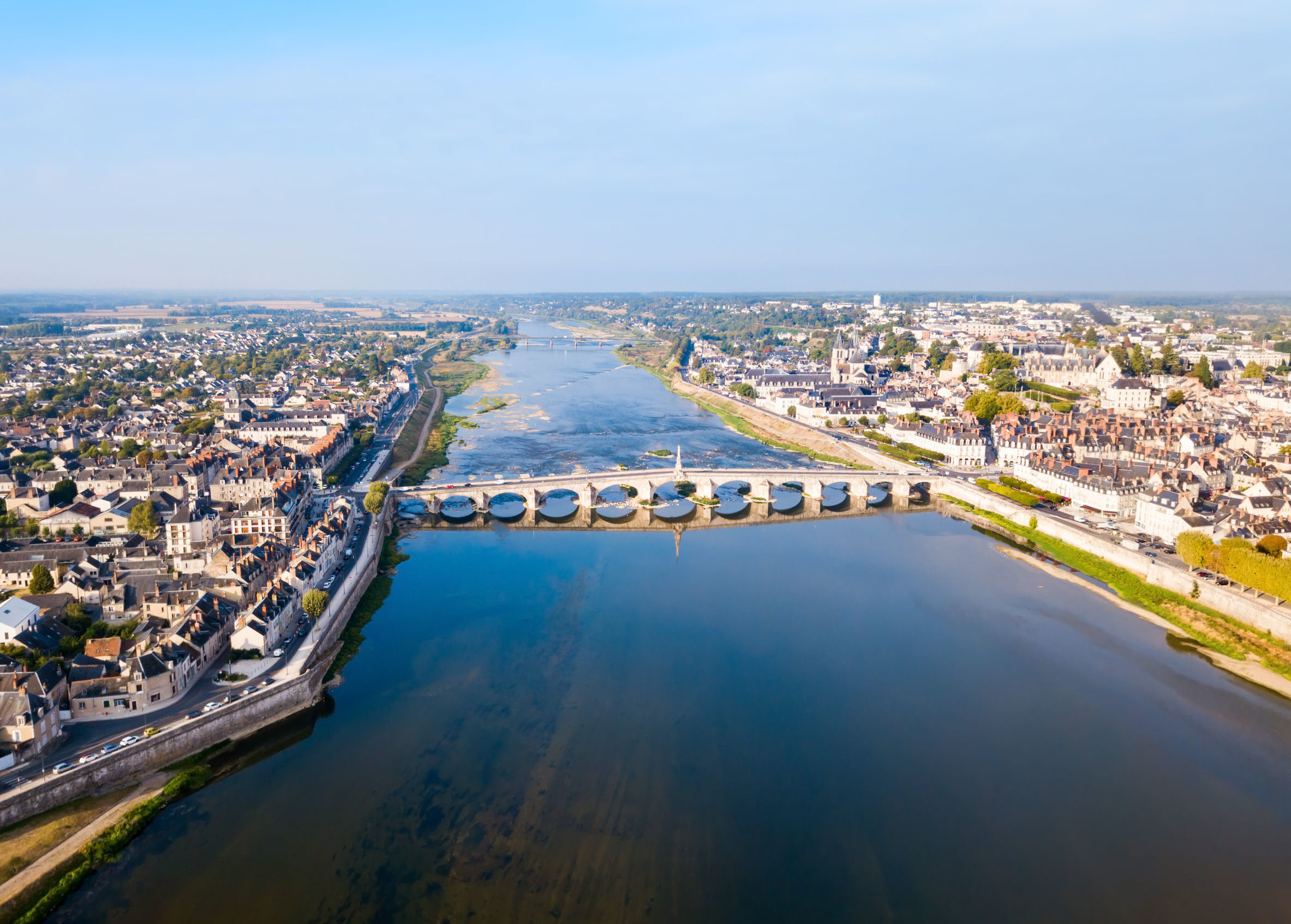 Loire river valley and Blois city aerial panoramic view in France
